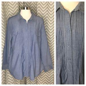 💥 Chico's pintuck chambray shirt blue size 3 XL